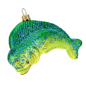 Blown glass Christmas ornament, dolphinfish s2