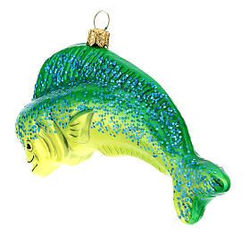 Blown glass Christmas ornament, dolphinfish s5