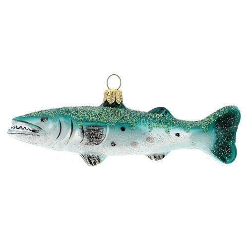 Barracuda gigante adorno árbol Navidad vidrio soplado 1