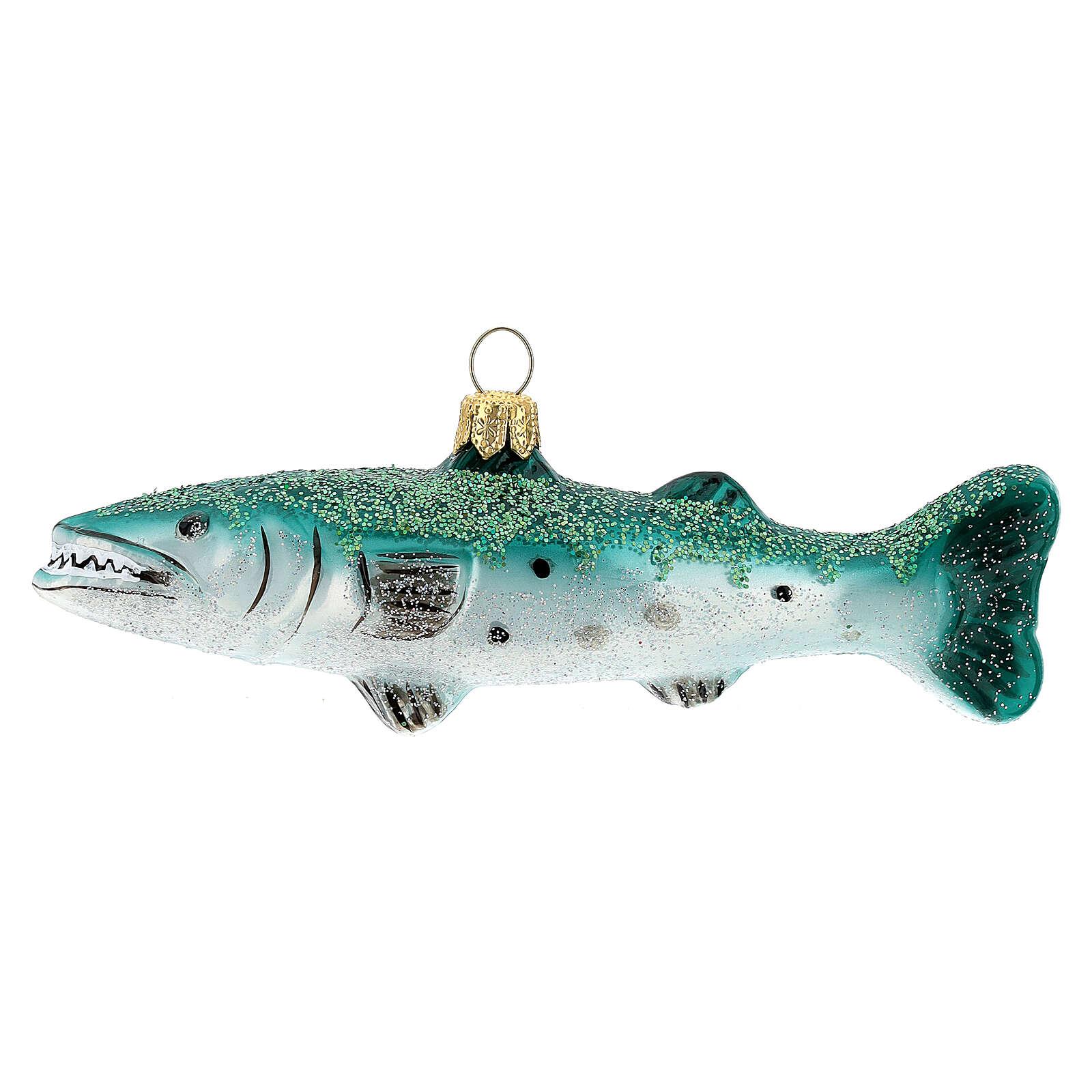 Blown glass Christmas ornament, great barracuda 4