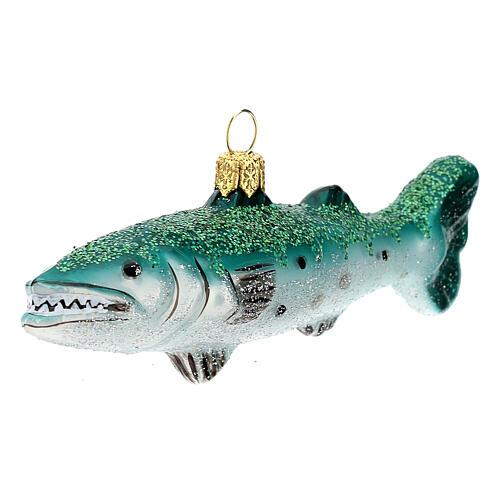 Blown glass Christmas ornament, great barracuda 3