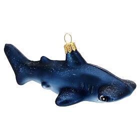 Hammerhead shark blown glass Christmas tree decoration s3
