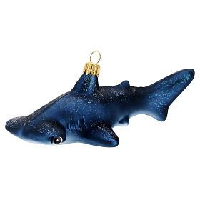 Blown glass Christmas ornament, hammerhead shark s2