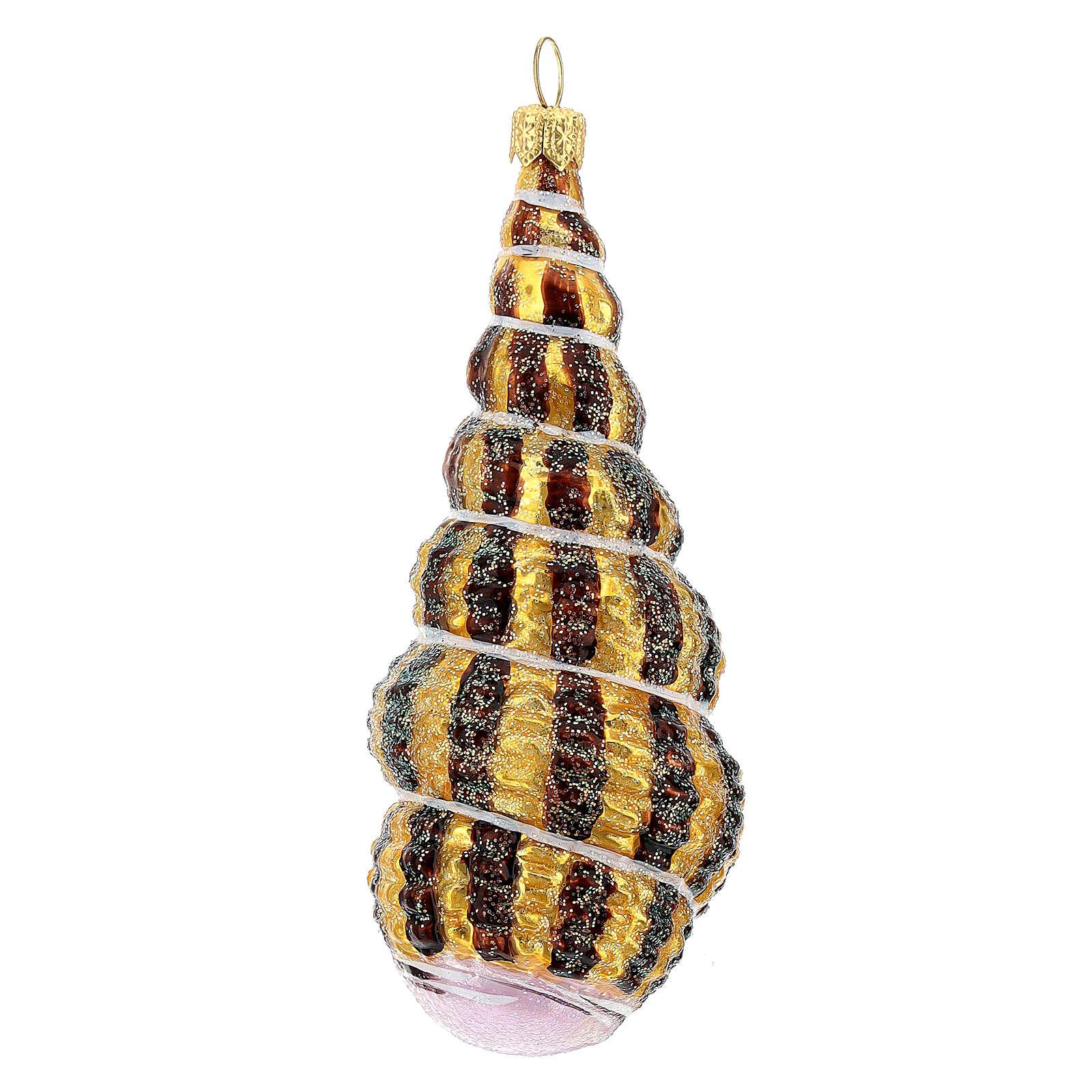 Coquillage torsadé verre soufflé décoration sapin Noël 4