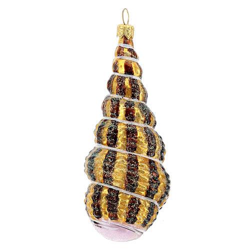 Coquillage torsadé verre soufflé décoration sapin Noël 1