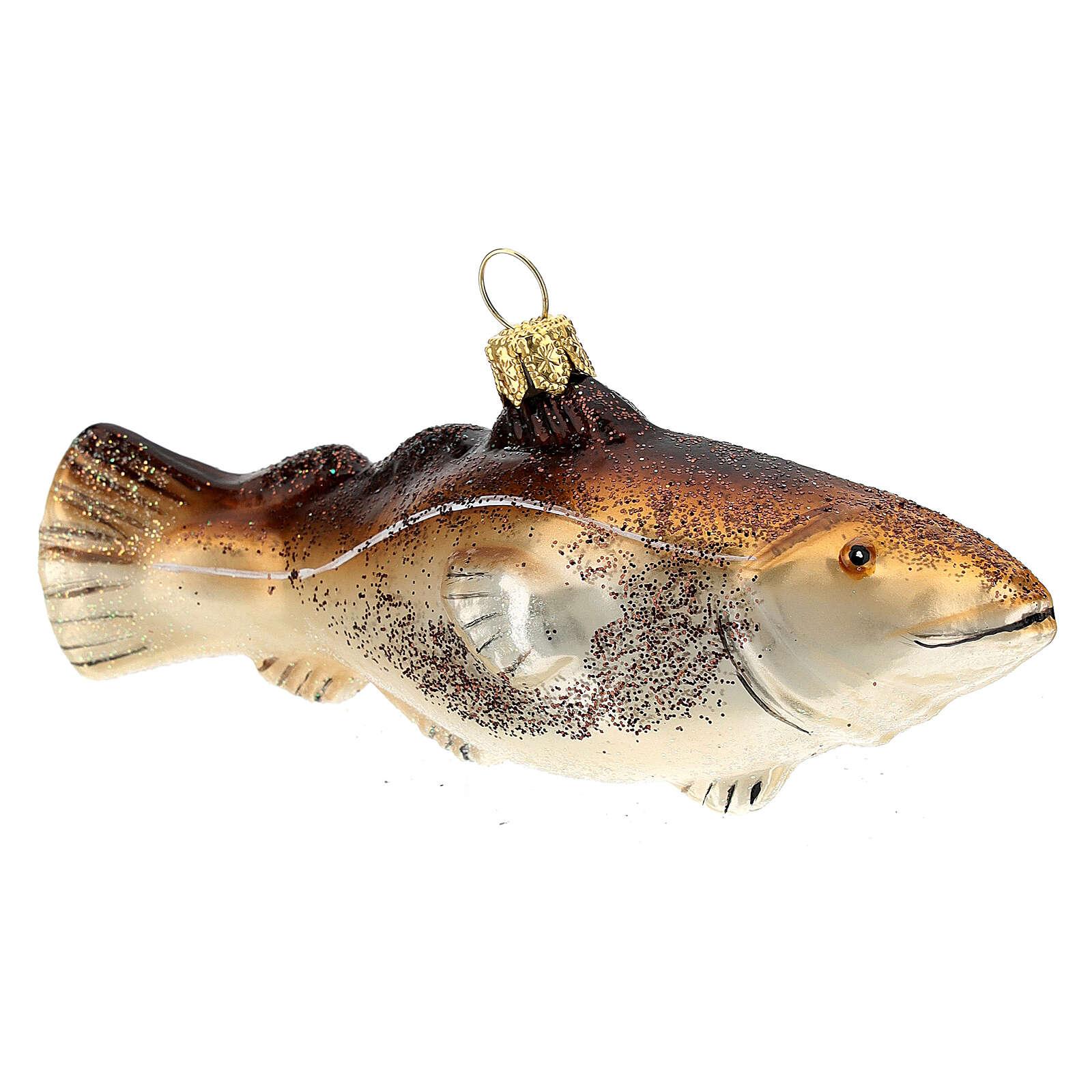 Blown glass Christmas ornament, cod fish 4