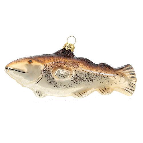 Blown glass Christmas ornament, cod fish 1