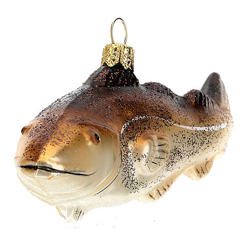 Blown glass Christmas ornament, cod fish 2