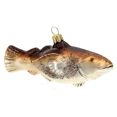 Blown glass Christmas ornament, cod fish 3