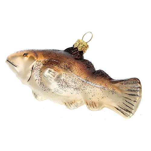 Blown glass Christmas ornament, cod fish 5