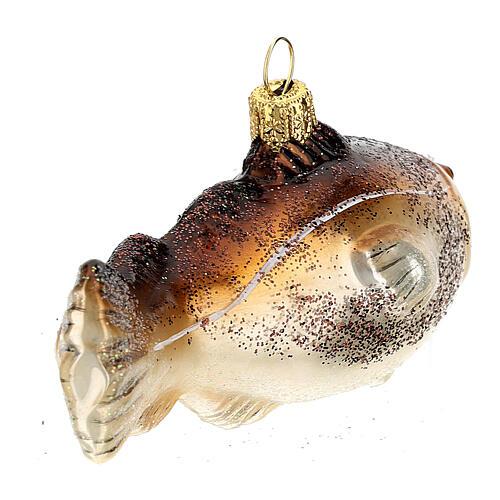 Blown glass Christmas ornament, cod fish 6