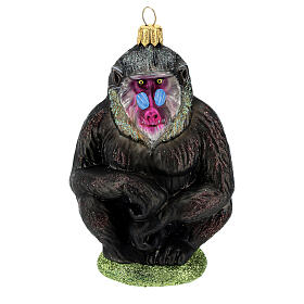 Blown glass Christmas ornament, mandrill s1