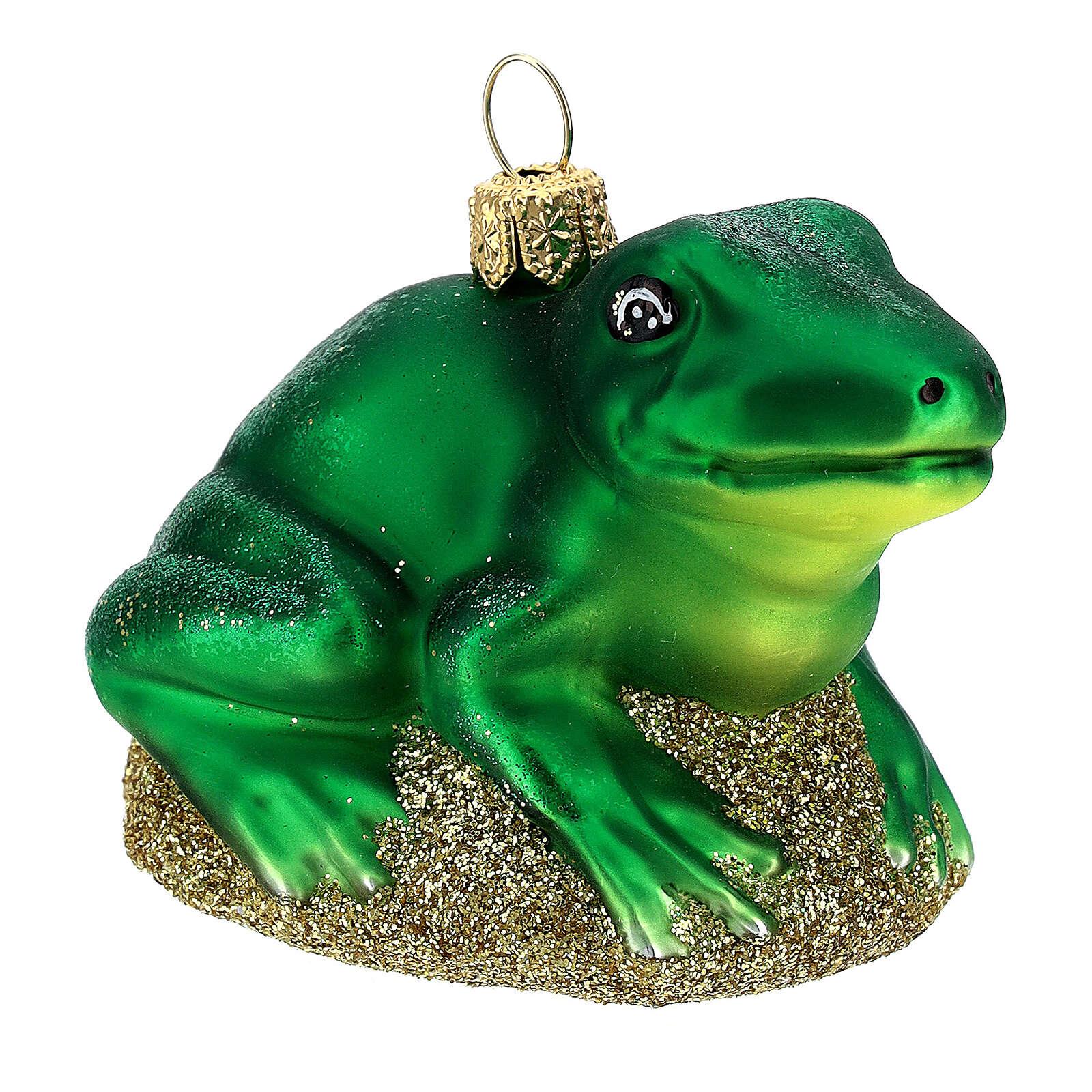Blown glass Christmas ornament, frog 4