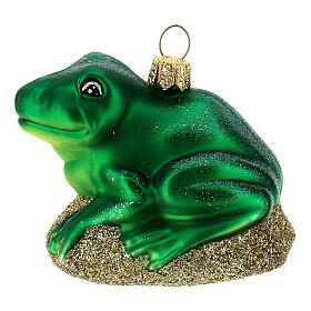 Blown glass Christmas ornament, frog s1