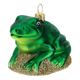Blown glass Christmas ornament, frog s2