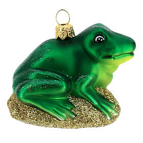 Blown glass Christmas ornament, frog s4