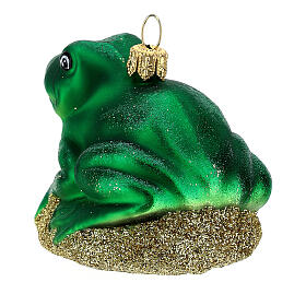 Blown glass Christmas ornament, frog s5