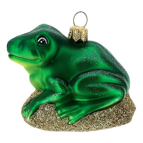 Blown glass Christmas ornament, frog 1