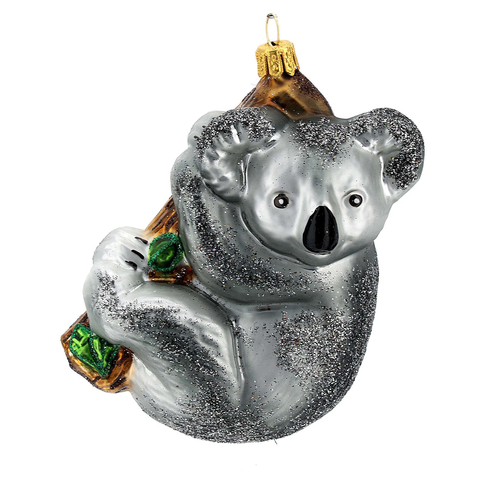 Koala en la rama decoración árbol Navidad vidrio soplado 4