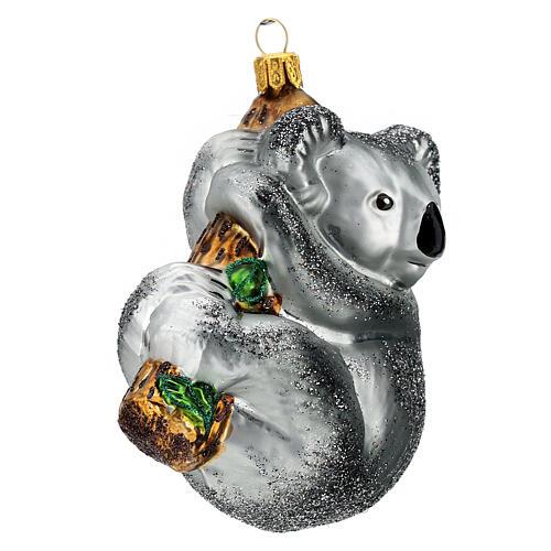 Koala sur branche décoration verre soufflé sapin Noël 3