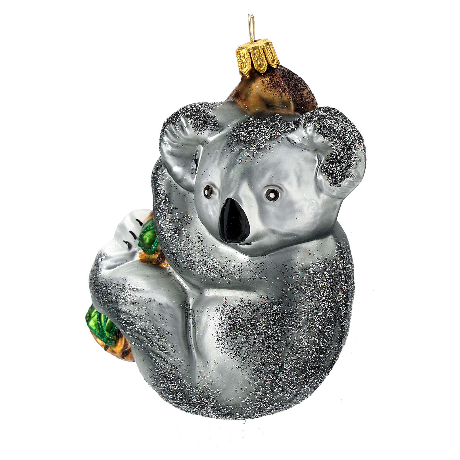 Blown glass Christmas ornament, koala on tree 4