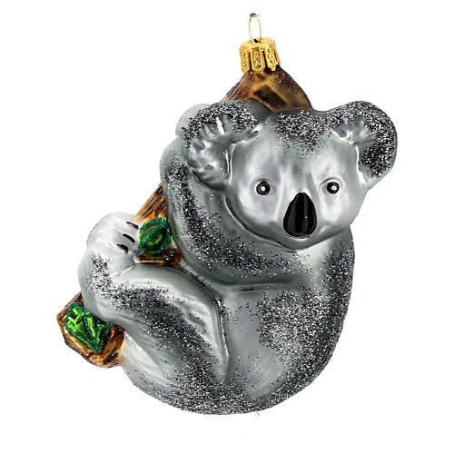 Blown glass Christmas ornament, koala on tree 1