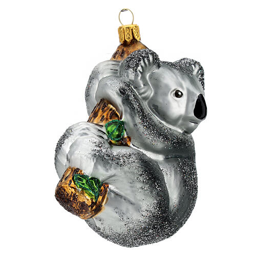 Blown glass Christmas ornament, koala on tree 3
