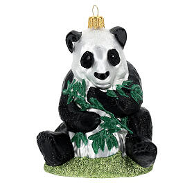 Panda blown glass Christmas tree decoration s1