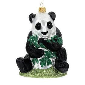 Blown glass Christmas ornament, panda s1