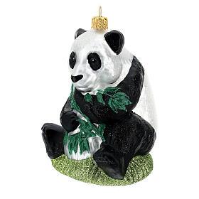 Blown glass Christmas ornament, panda s2