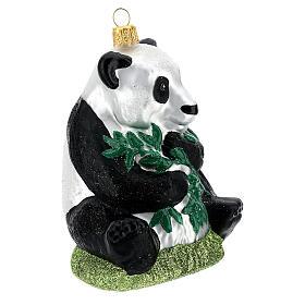 Blown glass Christmas ornament, panda s3