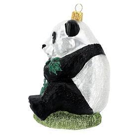 Blown glass Christmas ornament, panda s4