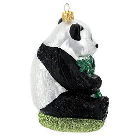 Blown glass Christmas ornament, panda s5