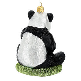 Blown glass Christmas ornament, panda s6
