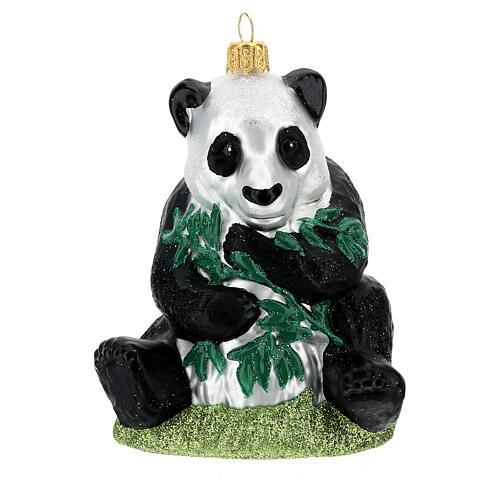 Blown glass Christmas ornament, panda 1
