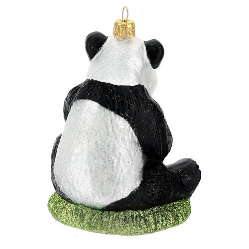 Blown glass Christmas ornament, panda 6