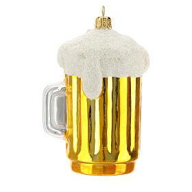 Caña cerveza decoración árbol Navidad vidrio soplado s1