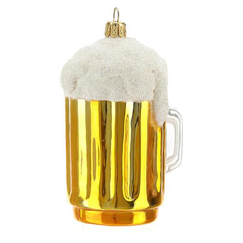 Caña cerveza decoración árbol Navidad vidrio soplado 3