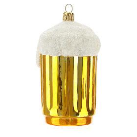 Boccale birra decorazione albero Natale vetro soffiato s4