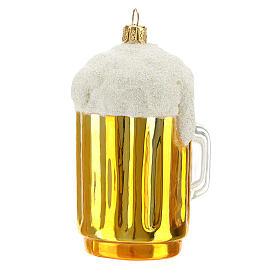 Boccale birra decorazione albero Natale vetro soffiato s5