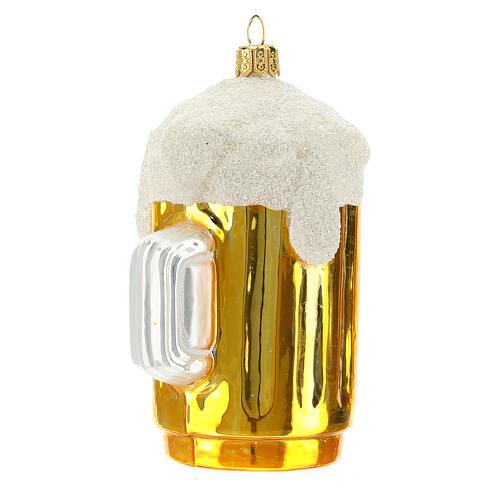 Boccale birra decorazione albero Natale vetro soffiato 2