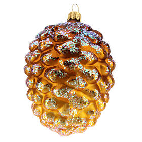 Golden pinecone blown glass Christmas tree decoration s1