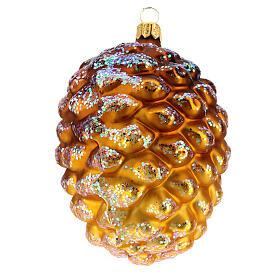 Pomme de pin dorée verre soufflé décoration sapin Noël s2