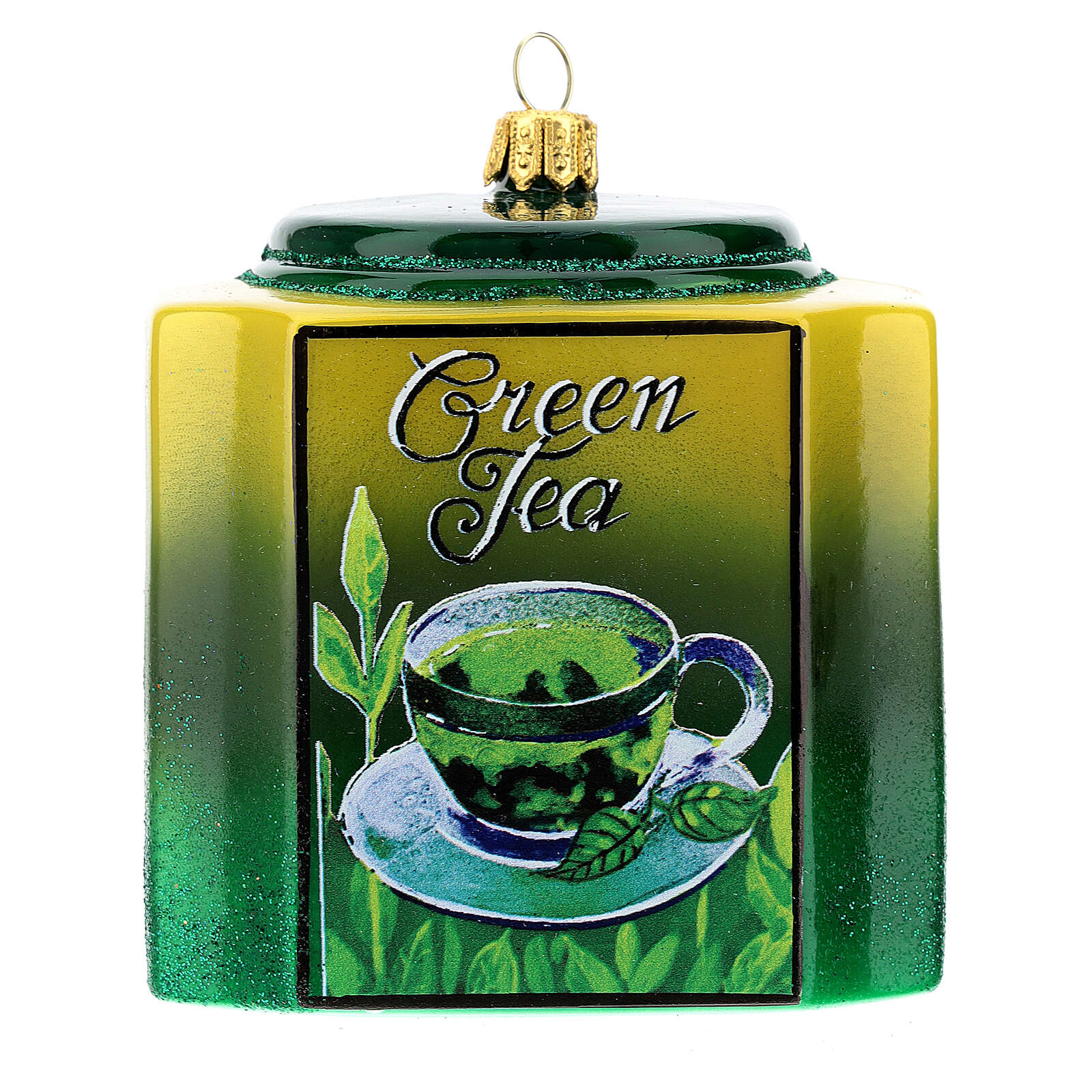 Caja té verde vidrio soplado decoración árbol Navidad 4