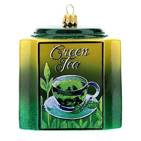 Caja té verde vidrio soplado decoración árbol Navidad s1