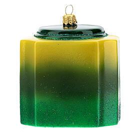 Caja té verde vidrio soplado decoración árbol Navidad s4