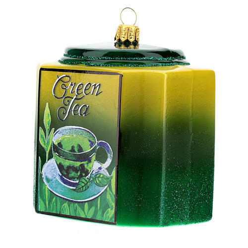 Caja té verde vidrio soplado decoración árbol Navidad 2