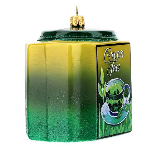 Caja té verde vidrio soplado decoración árbol Navidad 3