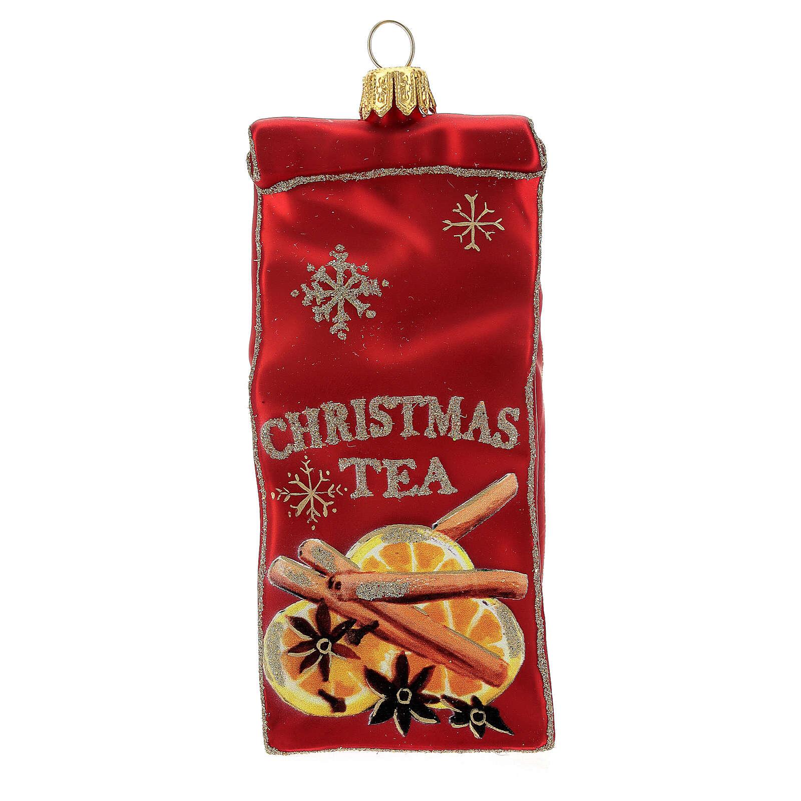 Blown glass Christmas ornament, Tea packet 4