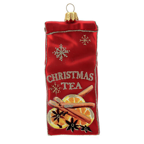 Blown glass Christmas ornament, Tea packet 1